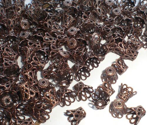 100 filigrane Perlkappen Endkappen Farbe kupfer #S047