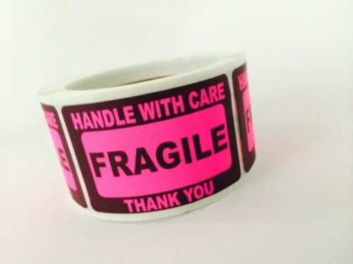 25 2x3 FRAGILE Stickers Handle with Care Stickers Pink Neon Fluorescent 2x3 NEW