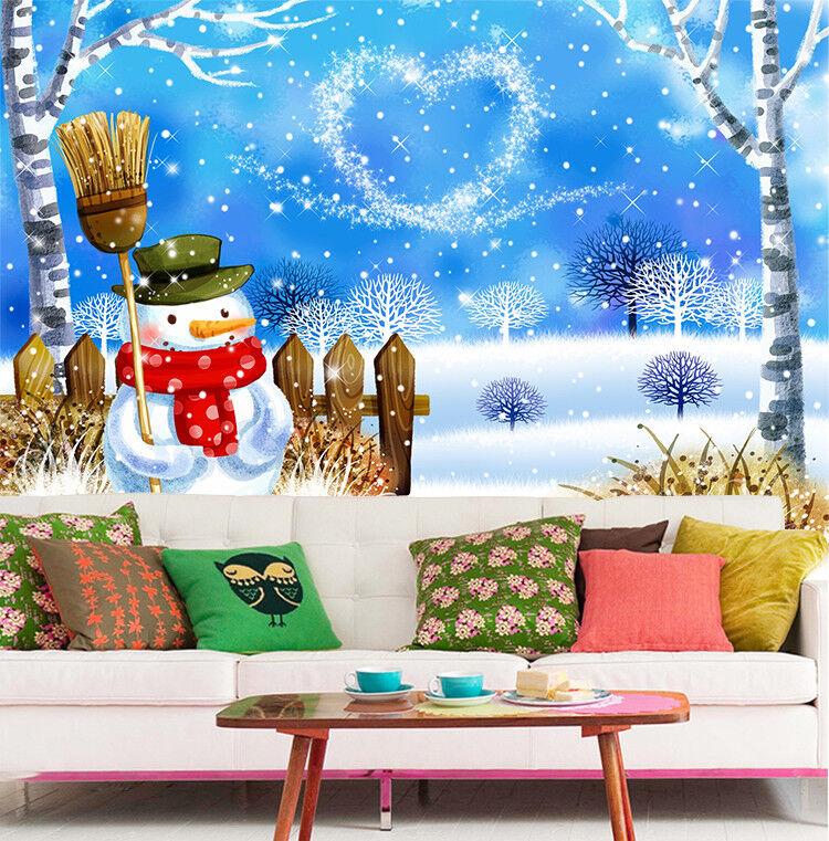 3D Snowman Love 701 Wallpaper Murals Paper Wall Print Wallpaper Mural UK