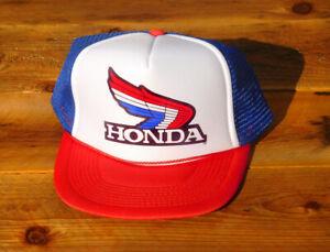 Honda Motorcycle Trucker Hat Race Vintage 80s Mesh Snapback Orange Gold Wing ATC