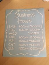 Business Window Operating Hours Decal Sticker Office