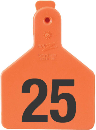 """Z-TAG CALF TAG SHORT NECK 2-3//8/"""" W x 3-1//4/"""" H Hot-Stamped  #76-100 ORANGE 25ct"""