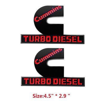"2x OEM Black Cummins Turbo Diesel HIGH OUTPUT Emblem Ram 2500 3500 B 4.5/"" Red"