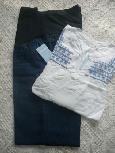 Bebe Camicetta bianca taglia Jojo ricamata Maman premaman Bnwt 18 cropped Jeans AREwxqwzO