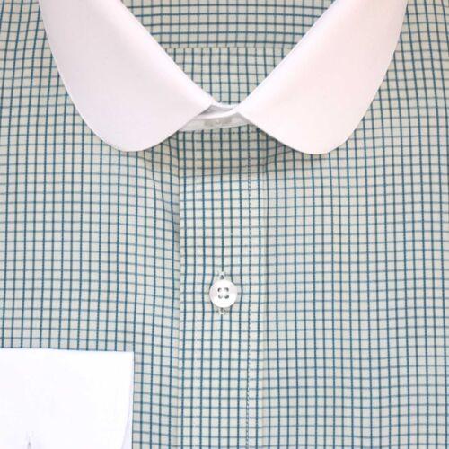 PENNY Da Uomo Colletto Verde controlli Peaky Blinder BANCHIERI Camicia Da Uomo Round Grandad