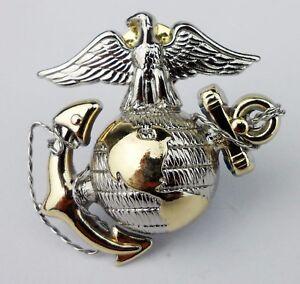 US-Marine-Corps-officer-Dress-Cap-Badge-Pin-Insignia-USMC-CAP-BADGE-Gold-Silver