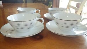 Platinum Star Burst cups and saucers by CREATIVE 4 sets 8 pcs total