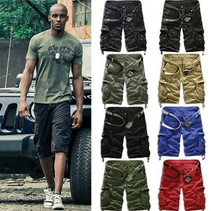 Men-039-s-Cargo-Vintage-Shorts-Casual-Army-Combat-Multi-pocket-Military-Trouser-Pant