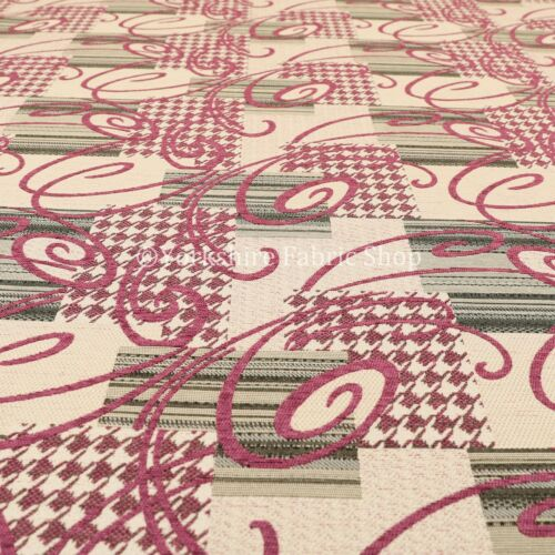 Modern Patchwork Houndstooth Stripe Art Chenille Pink Curtain Upholstery Fabric