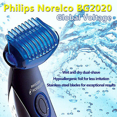 Philips Norelco  BG2020/31 Mens BODY GROOMER Wet Dry w/ 3 Combs & Charging Stand