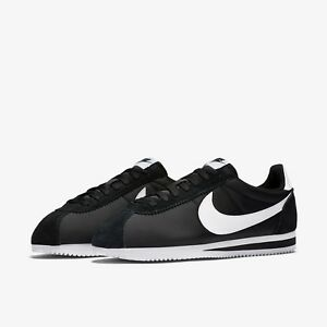 ea9cf23d Nike Classic Cortez Nylon Black White Men's Shoes Lifestyle Sneakers ...