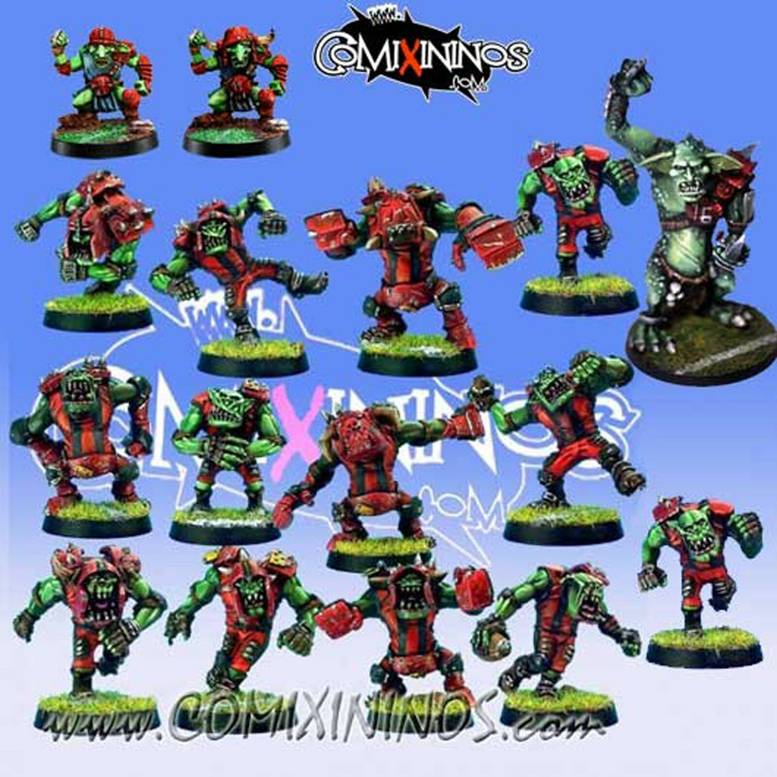 fantasi fotboll - ORC TEAM 16 spelaers with TROLL for Blood Bowl - Necrom Studio