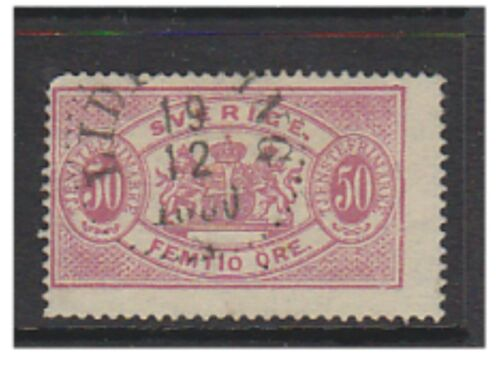 Sweden 1885, 50 ore Carmine Official Perf 13 Used SG O39d