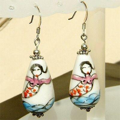 HAWAIIAN LUAU Sterling silver HULA ~MERMAID~ Womens Dangle earrings NEW cute New