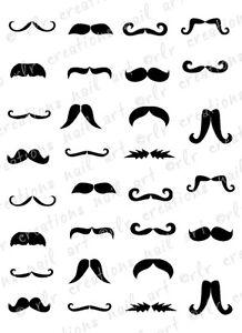 30 Mustache Assortment Water Slide Nail Art Decals Mustache Nail