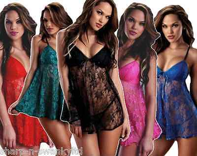 bd3a267d63 Ladies Sexy Blue Black Pink Green Lace Babydoll Chemise Lingerie Underwear  Set
