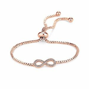 Image Is Loading Rose Gold Infinity Friendship Bracelet With Crystals From