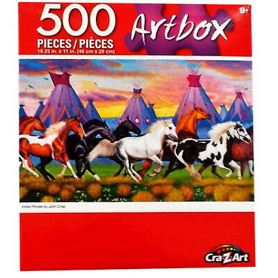 "Indian Ponies Horses Running Pony Jigsaw Puzzle 500 Pieces 18.25""X11"" Piece NEW"