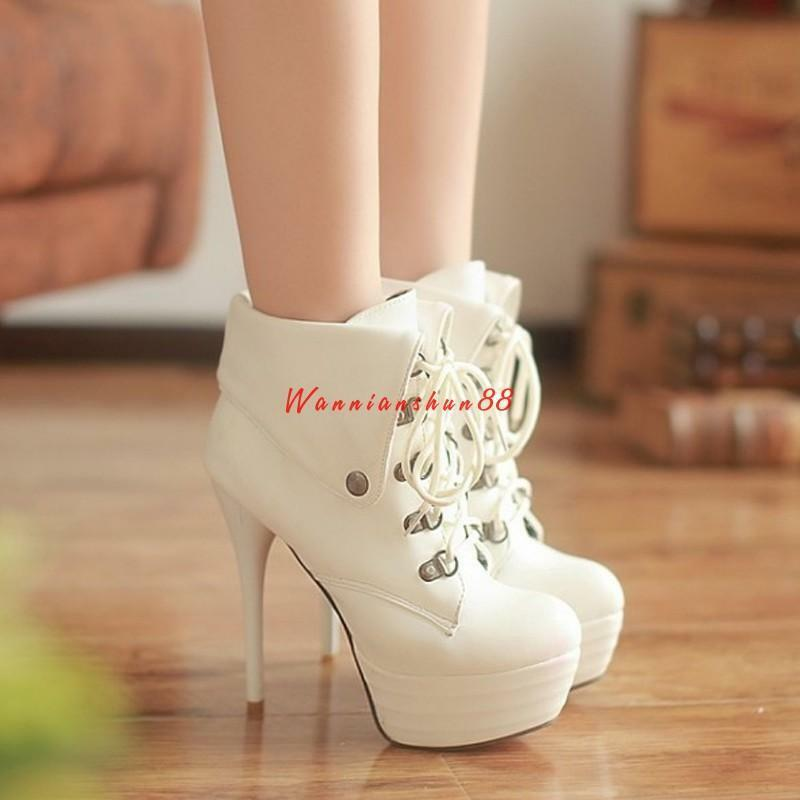Women's round toe lace up Platform High Heels Lace up PU Leather Ankle Boots