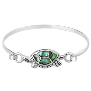 2c5bc85aed0 Image is loading Turtle-Bracelet-Thin-Metal-Hook-Bangle-Abalone-Shell-