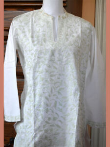 Light-Green-Embroidered-White-Color-Cotton-Tunic-Top-Kurti-from-India-Large