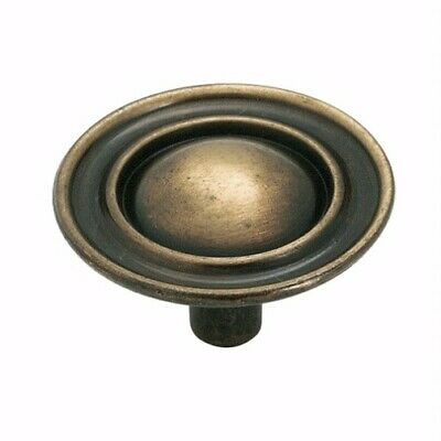 """Stem Amerock BP856-OM Oatmeal 1/"""" Cabinet Knob Pull with Antique Brass Base"""