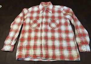 Murphy S Mens Pink Red Brown Plaid Cotton Flannel Shirt 1970s Size M