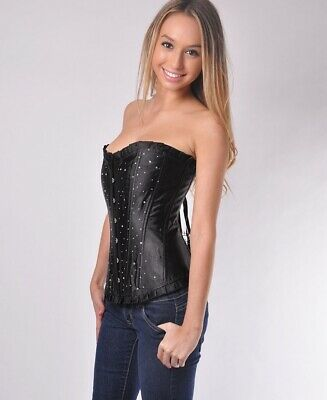 Brand New Tapestry Corset with Ruffle Trim And G-String