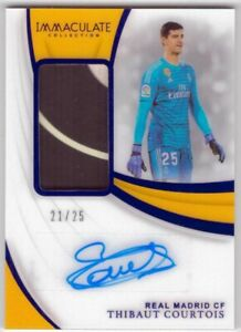 Thibaut Courtois 2018-19 Panini Immaculate Collection Soccer 21/25 Patch Auto