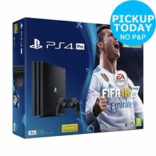 Sony PlayStation 4 PS4 Pro 1TB 4K FIFA 18 Console Bundle - Black