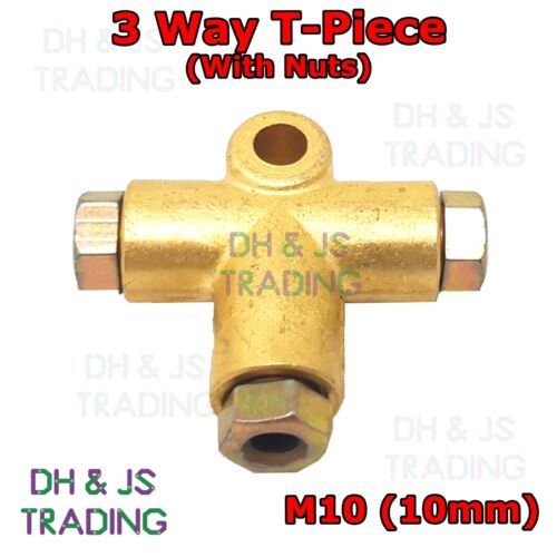 """3 Way T Piece With 3 Male Brake Nuts Short Metric 3//16/"""" Pipe 10mm M10 Connector"""