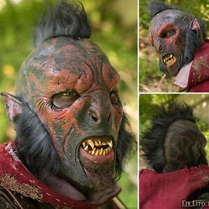 Details about Latex Carnal Orc Mask With Hair - Perfect For LARP Or Costume  Use