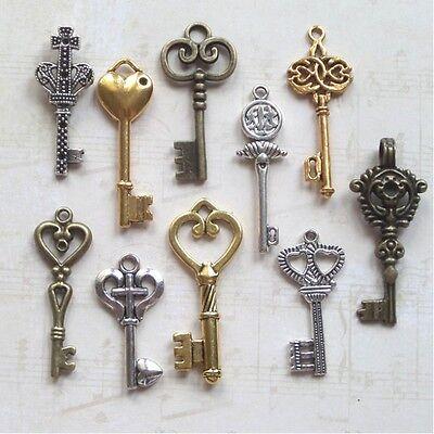 10 Antique color Vintage Skeleton Key wedding key For Jewelry Making 18*59mm