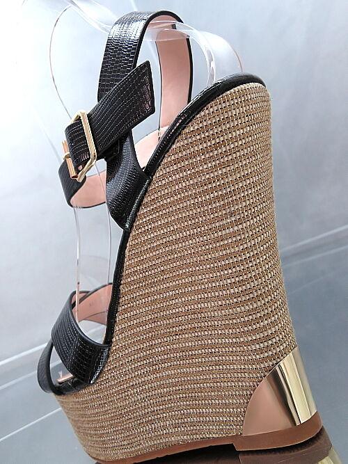 HOHE LACK Heels LUXUS Damen Sandalen Pumps Schuhe Q34 High Heels LACK Wedge Keilabsatz 36 04f7be