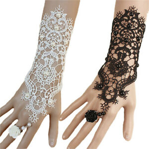 1pc-Women-Goth-Rose-Beads-Flower-Lace-Slave-Glove-Adjustable-Ring-Long-Bracel-xh