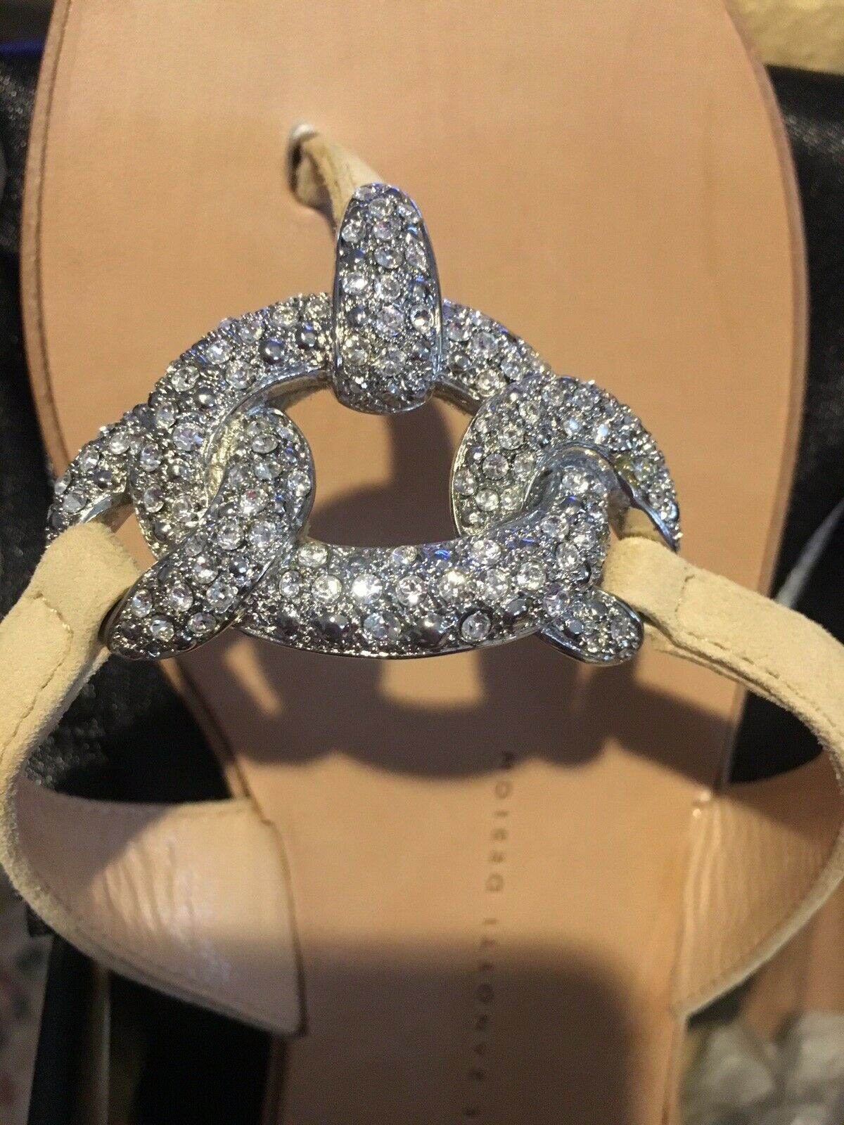 GIUSEPPE ZANOTTI Beige Suede Crystal Thong Sandals