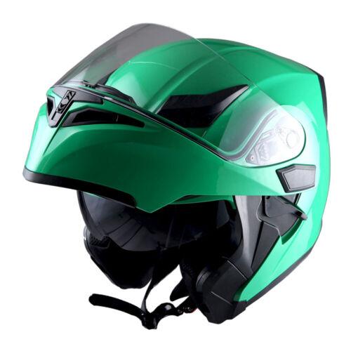 1Storm Motorcycle Modular Flip up Full Face Helmet Dual Visor Glossy Green