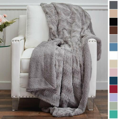 Cozy Blanket Throws Super Soft Faux Fur 9 Colors Reversible Plush Throw Blanket