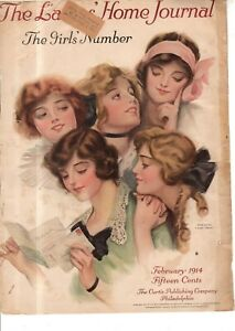 1914 Ladies Home Journal February Cover only - Girl's Number by F. Earl Christy