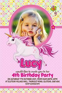 Image Is Loading Personalised Unicorn Birthday Invitations X 5