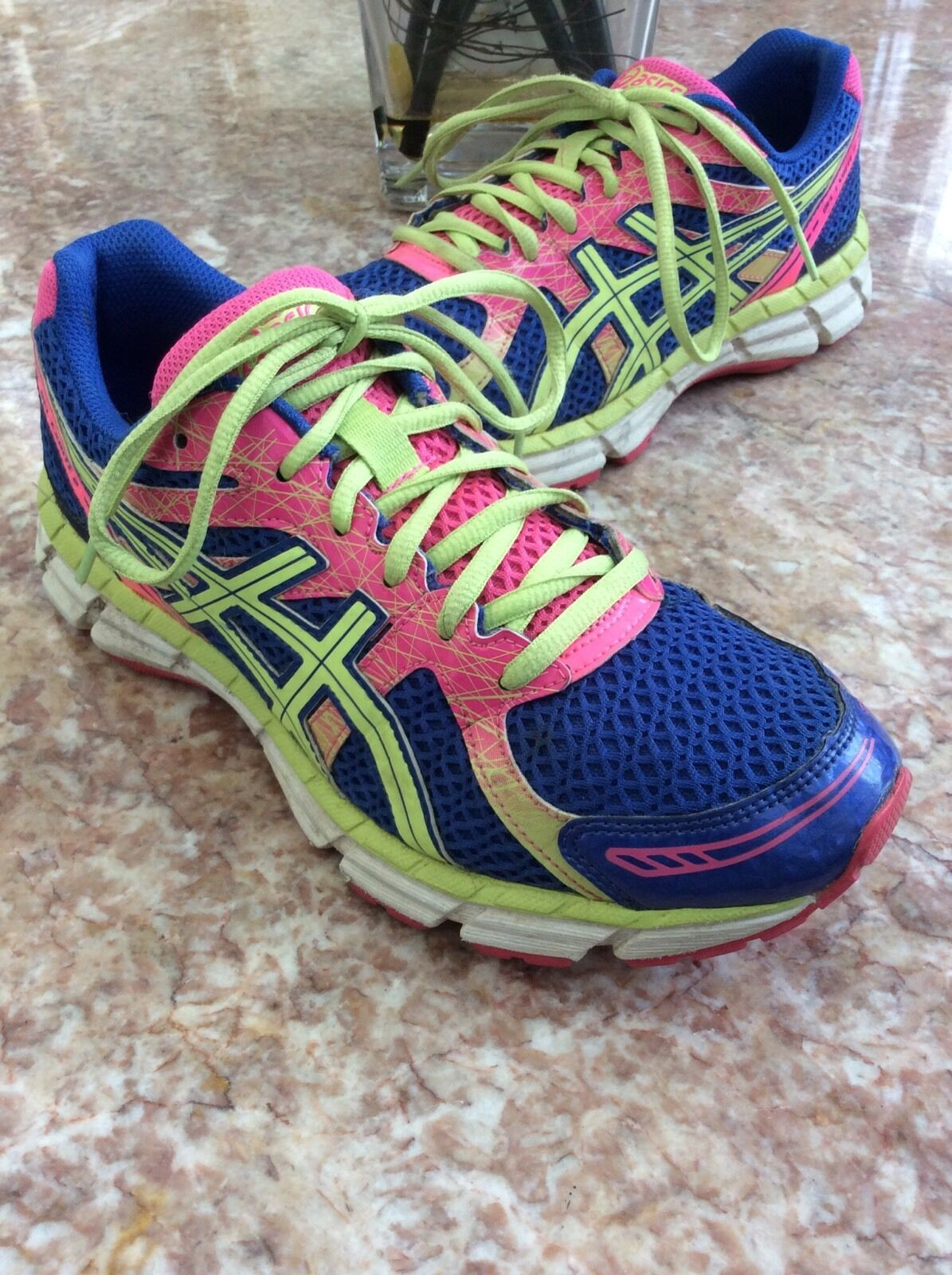 Asics Gel-Excite 2 Women's bluee Pink Light-Green Running shoes Size 8, T483N EUC