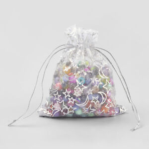 5558780323d2 Details about 100x White Drawstring Organza Bags Moon & Star Mini Gift  Pouches Party 4.7