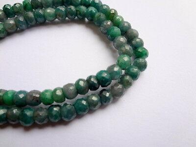 3-5mm Natural Green Sapphire Corundum Faceted Rondelle Precious Gemstones - 25pc