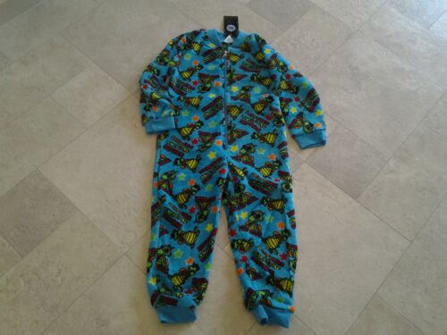 BNWT Boys blue, dinosaur print, coral fleece all in onepyjamas. Size 4.