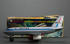 #Antique Tin Toy# TN Nomura BOeing 737 Japanese Japan United Airplane  Boxed