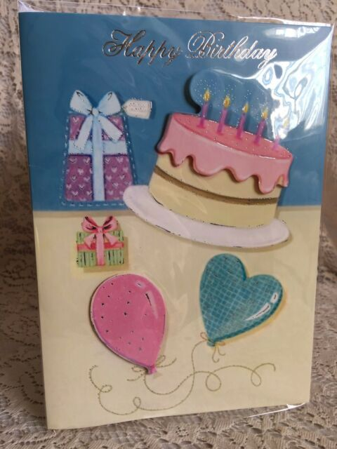 Happy Birthday Musical Card Cake Flowers Candles Hearts Gifts Ebay