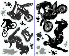 EXTREME SPORTS 16 Wall Decals BMX BIKE SKATEBOARD Room Decor Stickers MOTORCYCLE