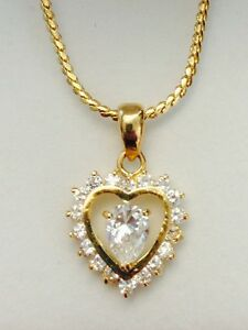 Heart-Pendant-Charm-Crystal-Yellow-Gold-Plated-Necklace-Chain-Christmas-Gifts