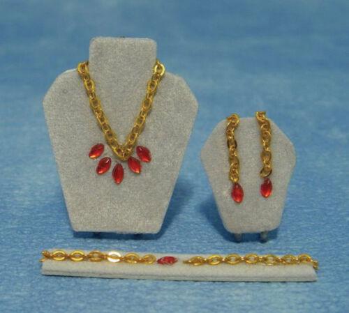 1:12 Scale Imitation Ruby Jewellery Set Tumdee Dolls House Display Accessory 261