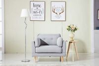 Mid Century Modern Ultra Plush Light Grey Linen Fabric Chair
